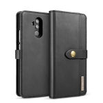 DG.MING Lambskin Detachable Horizontal Flip Magnetic Case for Huawei Mate 20 Lite / Maimang 7, with Holder & Card Slots & Wallet (Black)
