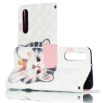 3D Jingle Cat Pattern Horizontal Flip PU Leather Case for Huawei P30, with Holder & Card Slots & Wallet & Photo Frame