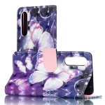3D Purple Butterflies Pattern Horizontal Flip PU Leather Case for Huawei P30, with Holder & Card Slots & Wallet & Photo Frame