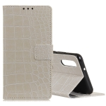 Retro Crocodile Texture Horizontal Flip Leather Case for Huawei Y6 Pro (2019), with Holder & Card Slots & Photo Frame (White)