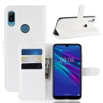 Litchi Texture Horizontal Flip Leather Case for Huawei Y6 2019, with Wallet & Holder & Card Slots(White)