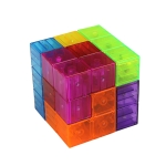 MoFun 730A 3D Transparent Color Magnetic Square Magic Cube Children Puzzle Toy