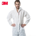 3M 4515 One-piece White Anti-static Anti-chemical Dustproof Sandblasting Suit with Cap, Size: M