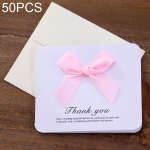 50 PCS Festival Creative Universal Bowknot Greeting Cards with Envelope (Pink)
