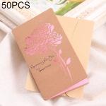 50 PCS Festival Universal Retro Kraft Paper Rose Pattern Greeting Cards