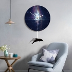B013-031 Dolphin Pattern Starry Sky Style Home Living Room Decoration Acrylic Mute Wall Clock, Size : 28cm
