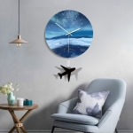 B014-033 Plane Pattern Starry Sky Style Home Living Room Decoration Acrylic Mute Wall Clock, Size : 28cm