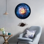 B015-034 Spacecraft Pattern Galaxy Style Home Living Room Decoration Acrylic Mute Wall Clock, Size : 28cm