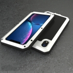 Waterproof Dustproof Shockproof Aluminum Alloy + Tempered Glass + Silicone Case for iPhone XR (White)