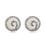Spiral Pattern Silver-plated Zircon Stud Earrings(Silver)