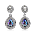 Silver Plated Round Inlaid Zircon Pendant Colorful Crystal Earrng (Silver)