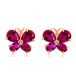 Plated Rose Gold Butterfly Zircon-Embellished Red Crystal Wing Stud Earring(Red)