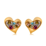 Heart-Shaped Gold-Plated Colored Zircon Stud Earrings