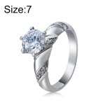 Fashion Silver-Plated Ring Engraved Diamond-Shaped Crystal Ring for Women(Silver with Diamond, US Size: 7)