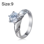 Fashion Silver-Plated Ring Engraved Diamond-Shaped Crystal Ring for Women(Silver with Diamond, US Size: 9)