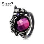 Classic Butterfly Rose Inlay Purple Crystal Ring for Women(Silver with Diamond, US, Size: 7)