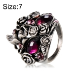 Classic Plated Silver Rose Butterfly Inlay Purple Crystal Mask Ring for Men and Women(Silver with Diamond, US, Size: 7)