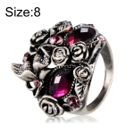 Classic Plated Silver Rose Butterfly Inlay Purple Crystal Mask Ring for Men and Women(Silver with Diamond, US, Size: 8)