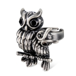 Plated Ancient Silver Double Owl Ring for Men and Women(Silver with Diamond, US, Adjustable Size)