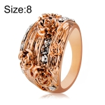 Fashion Rose Gold Plated Rosette with Rhinestone Ring for Women(Gold with Diamond, US, Size: 8)