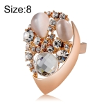 Fashion Rose Gold-Plated Drop-Shaped Crystal Zircon Ring for Women(Gold with Diamond, US, Size: 8)
