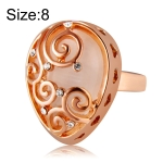 Fashion Zircon Pattern Plated Rose Drop-Shaped Crystal Ring for Women(Gold with Diamond, US, Size: 8)