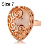 Fashion Zircon Pattern Plated Rose Drop-Shaped Crystal Ring for Women(Gold with Diamond, US, Size: 7)
