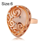 Fashion Zircon Pattern Plated Rose Drop-Shaped Crystal Ring for Women(Gold with Diamond, US, Size: 6)
