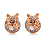 Rose Gold Plated Zircon Frog Clear Crystal Stud Earrings (Gold)