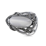 Silver-Plated Lace with Black Zircon-Inlaid Strips of Colored Crystal Ring for Women(Silver with Diamond, US, Size: 7) (White)