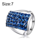 Silver-Plated Rectangle with Blue Crystal Ring for Women(Silver with Diamond, US, Size: 7)