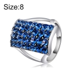 Silver-Plated Rectangle with Blue Crystal Ring for Women(Silver with Diamond, US, Size: 8)