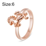Rose Gold-Plated Pony Ring for Women(Gold without Diamond, US, Size: 6)