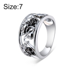 Openwork Silver Plated Three Elephant Alloy Ring(Silver with Diamond, US, Size: 7)