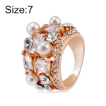 Rose Gold Plated Zircon Crystal Imitation Pearl Rose Ring for Women(Gold with Diamond, US, Size: 7)