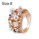 Rose Gold Plated Zircon Crystal Imitation Pearl Rose Ring for Women(Gold with Diamond, US, Size: 8)