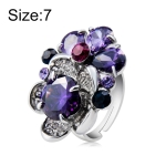 Silver Plated Zircon Inlay Purple Crystal Ring for Women(Silver with Diamond, US, Size: 7)