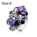 Silver Plated Zircon Inlay Purple Crystal Ring for Women(Silver with Diamond, US, Size: 8)