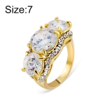 Gold-Plated and Zircon-Embedded Transparent Diamond-Shaped Crystal Ring for Women(Gold with Diamond, US, Size: 7)