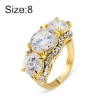 Gold-Plated and Zircon-Embedded Transparent Diamond-Shaped Crystal Ring for Women(Gold with Diamond, US, Size: 8)