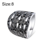 Silver-Plated Openwork Woven Rope with Black Zircon Ring for Women(Silver with Diamond, US, Size: 8)