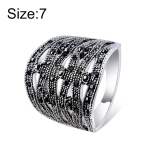 Silver-Plated Openwork Woven Rope with Black Zircon Ring for Women(Silver with Diamond, US, Size: 7)