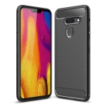 Brushed Texture Carbon Fiber Shockproof TPU Case for LG G8 ThinQ (Black)
