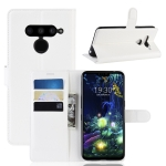 Litchi Texture Horizontal Flip Leather Case for LG V50 ThinQ 5G, with Wallet & Holder & Card Slots (White)