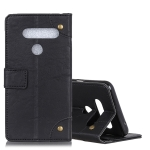 Copper Buckle Retro Crazy Horse Texture Horizontal Flip Leather Case for LG V50 ThinQ 5G, with Holder & Card Slots& Wallet (Black)