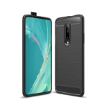 Brushed Texture Carbon Fiber Shockproof TPU Case for OnePlus 7 (Black)