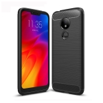 Brushed Texture Carbon Fiber TPU Case for Motorola Moto G7 Power (Black)