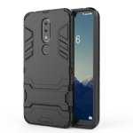 Shockproof PC + TPU Case for Nokia X6, with Holder(Black)