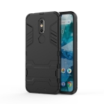 Shockproof PC + TPU Case for Nokia 7, with Holder(Black)