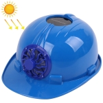 Solar Charging Safety Helmet with Fan Outdoor Hard Hat(Blue)